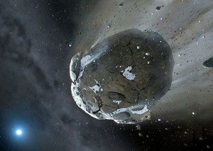 Concepção artística ilustra um asteroide (Foto: Mark Garlic/Warwick & Cambridge Universities/AFP)